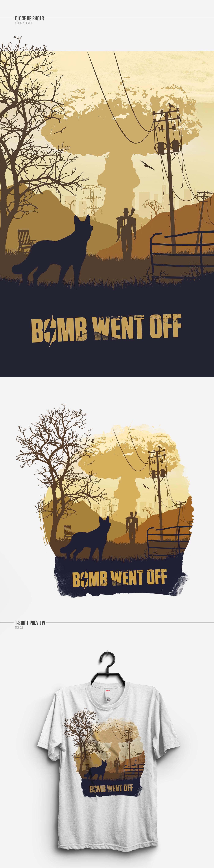 fallout fallout4 bomb inspiration photoshop Illustrator poster tshirt t-shirt sillhouette flat explosion hazard dog
