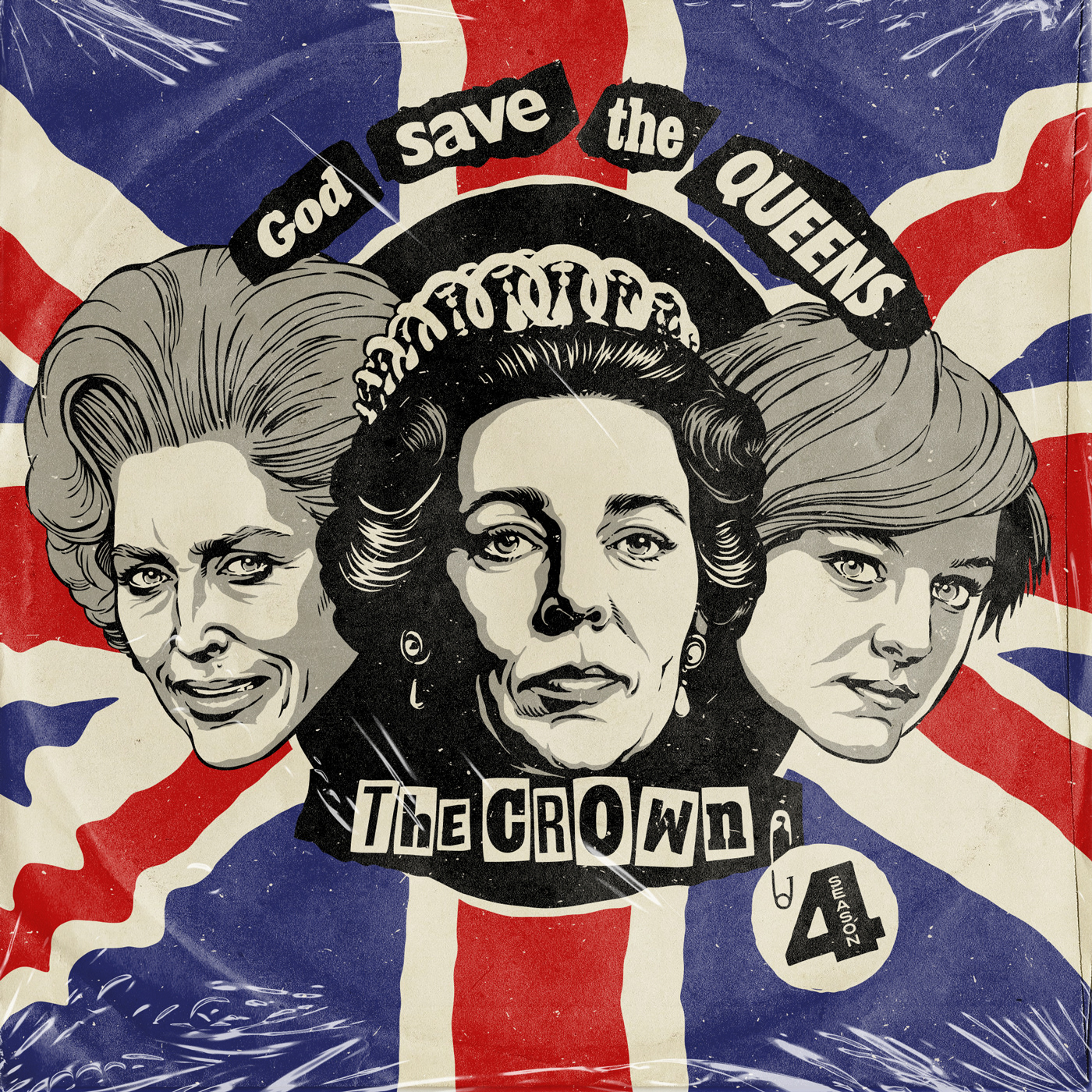 diana God SAve the Queen Lady Di punk record sex pistols sleeve Thatcher The Crown vinyl