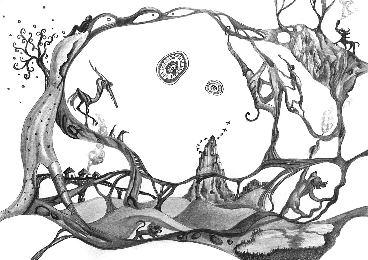 crayon dessin ILLUSTRATION  noir et blanc Surrealisme surrealiste animaux imaginaires Dessin au crayon paysage imaginaire