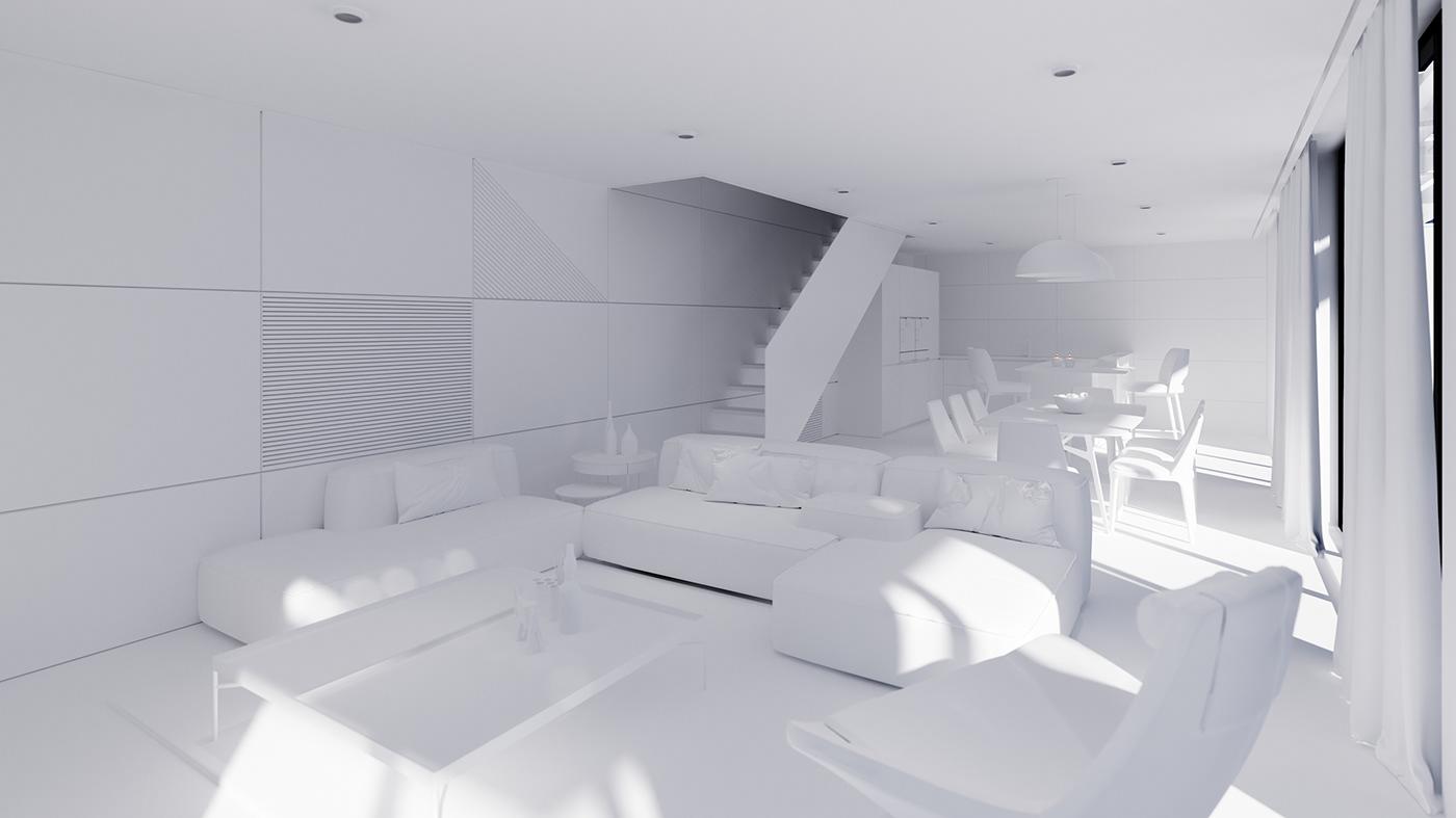 Render corona Interior design Archiecture house living room