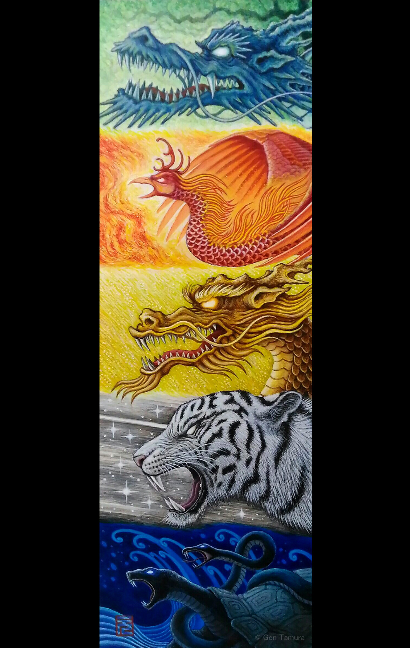 The five mythological creatures link to Wu Xing, also known as the Five Elements.