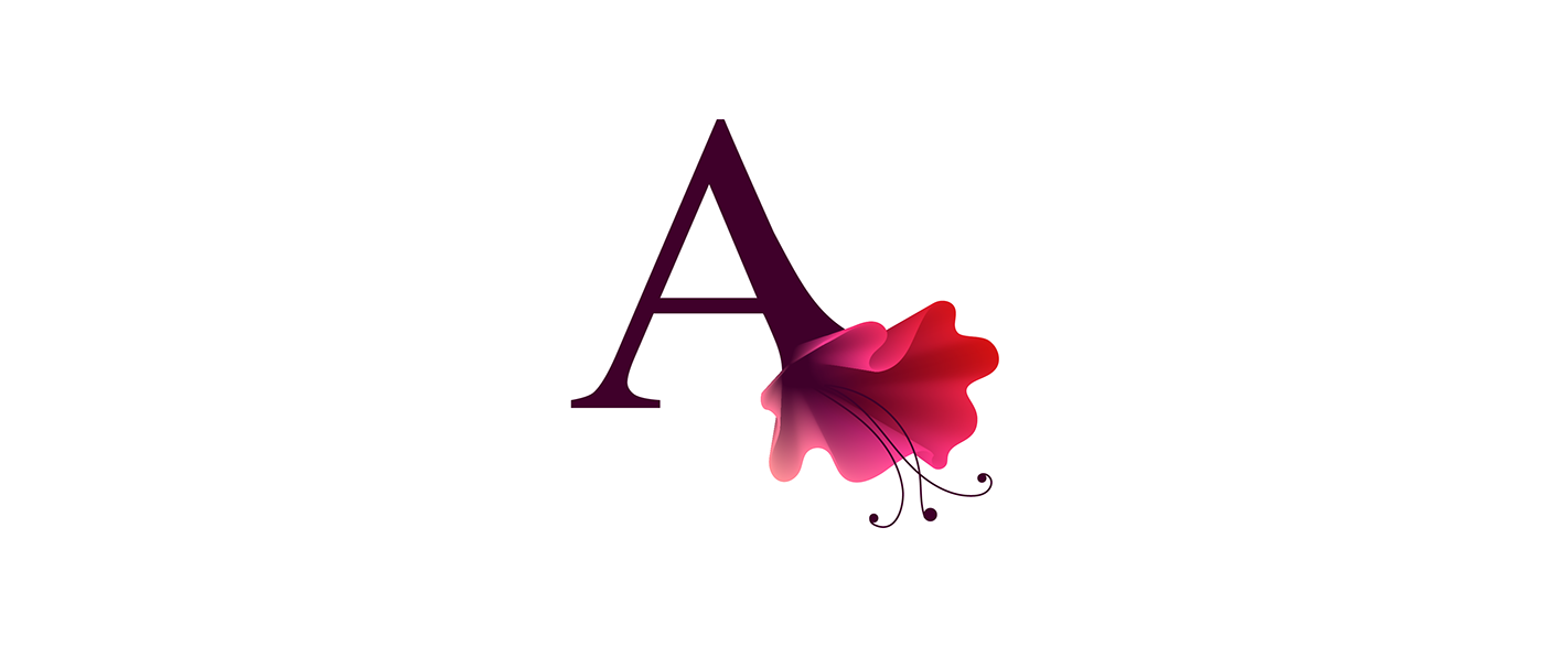 color times new roman red flow blue elegant Transformation Nature abstarct type fashionable vector Unique flower typo