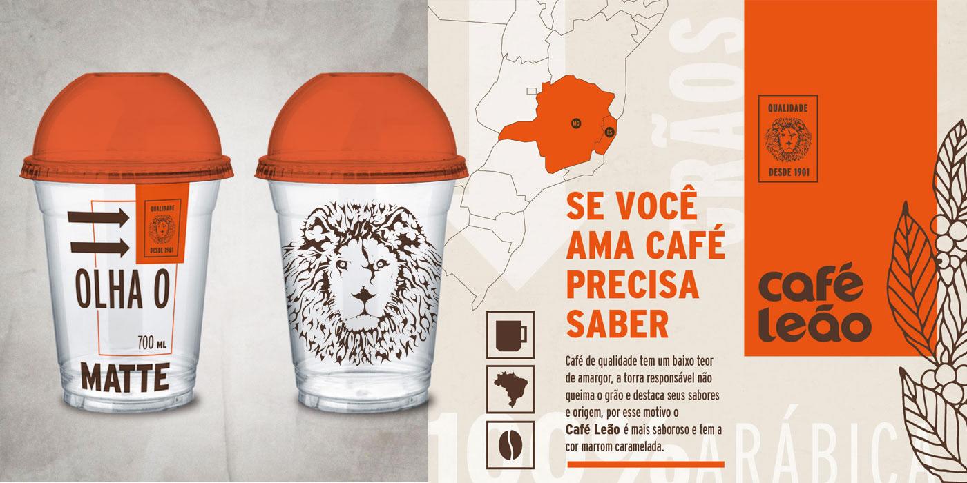 design gráfico embalagem cafe Coffee Café Leão cardápio