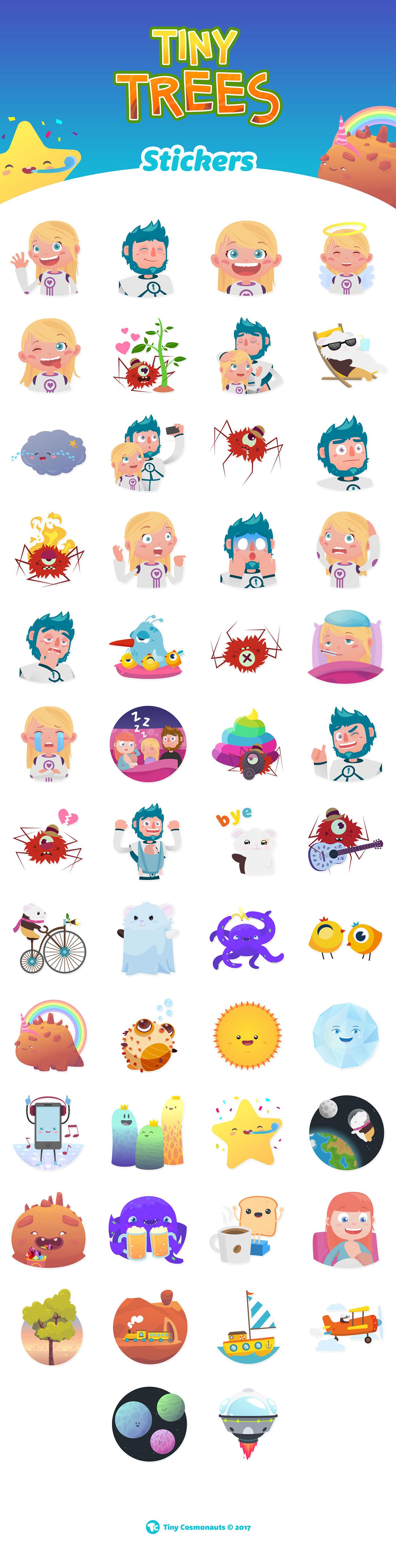 ilustracion stickers TinyTrees TinyCosmonauts