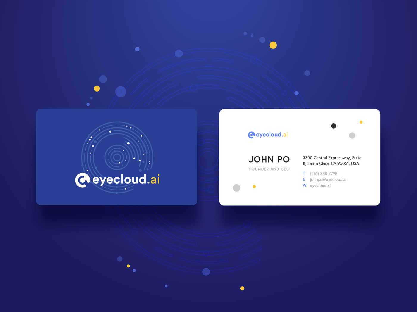 A business card for an AI company specialized in manufacturing smart household gadgets.