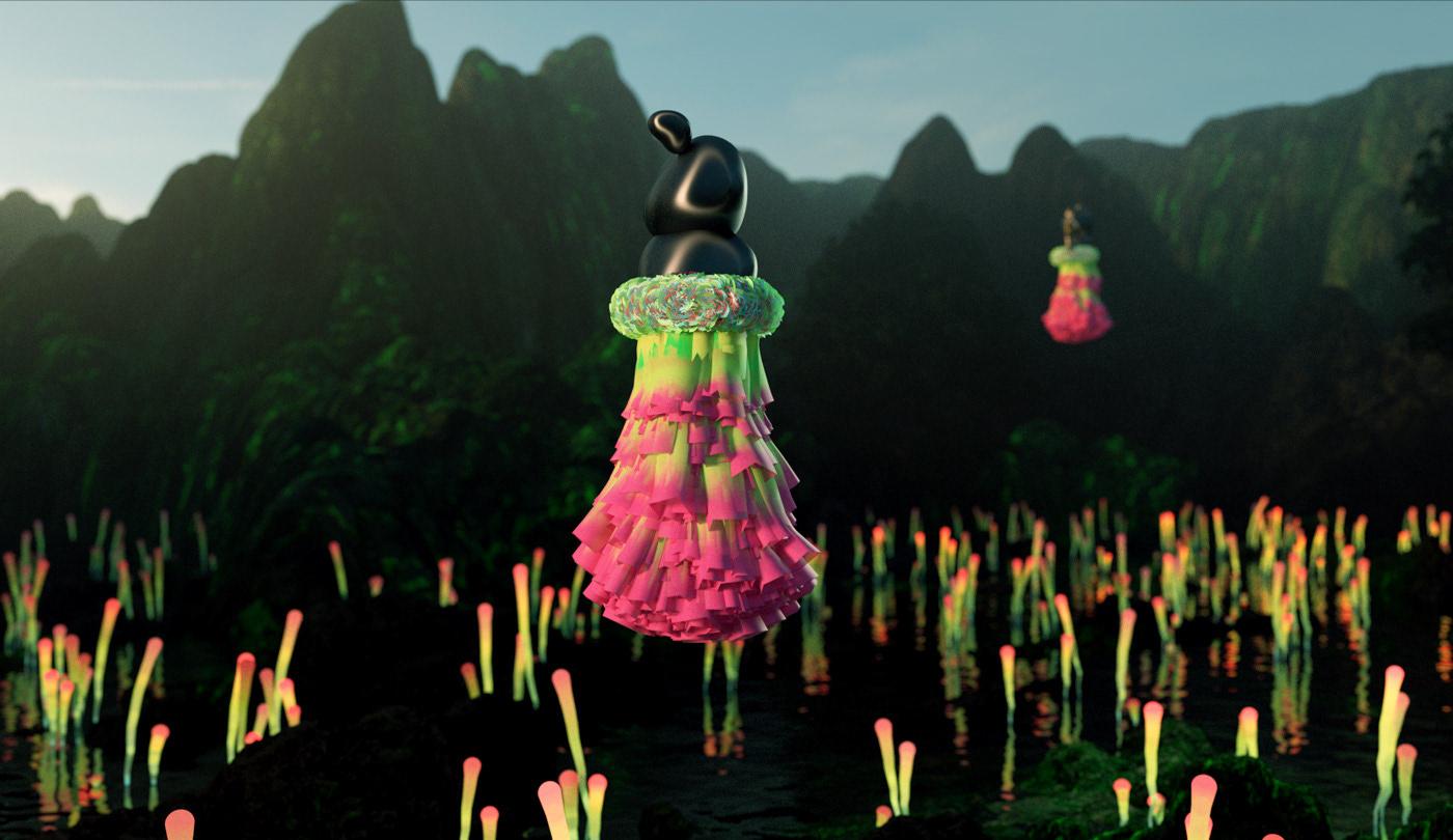 3D after effects animation  c4d design Fashion  Keyvisual marvelous designer motion redshift