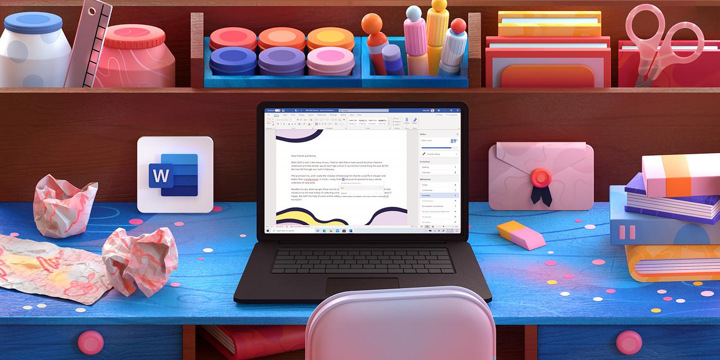 3D cinema4d design desk ILLUSTRATION  kitchen Microsoft motion Space  Work