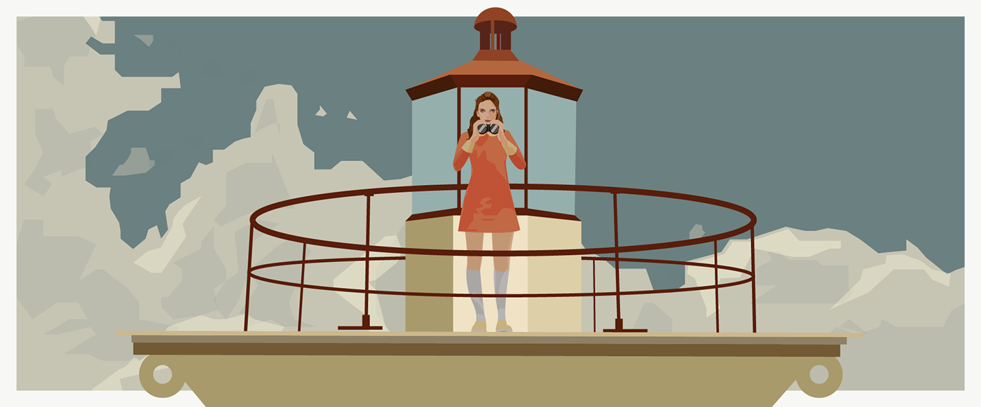 Fan Art Moonrise Kingdom wes anderson movie lighthouse field Vector Illustration rotoscoping