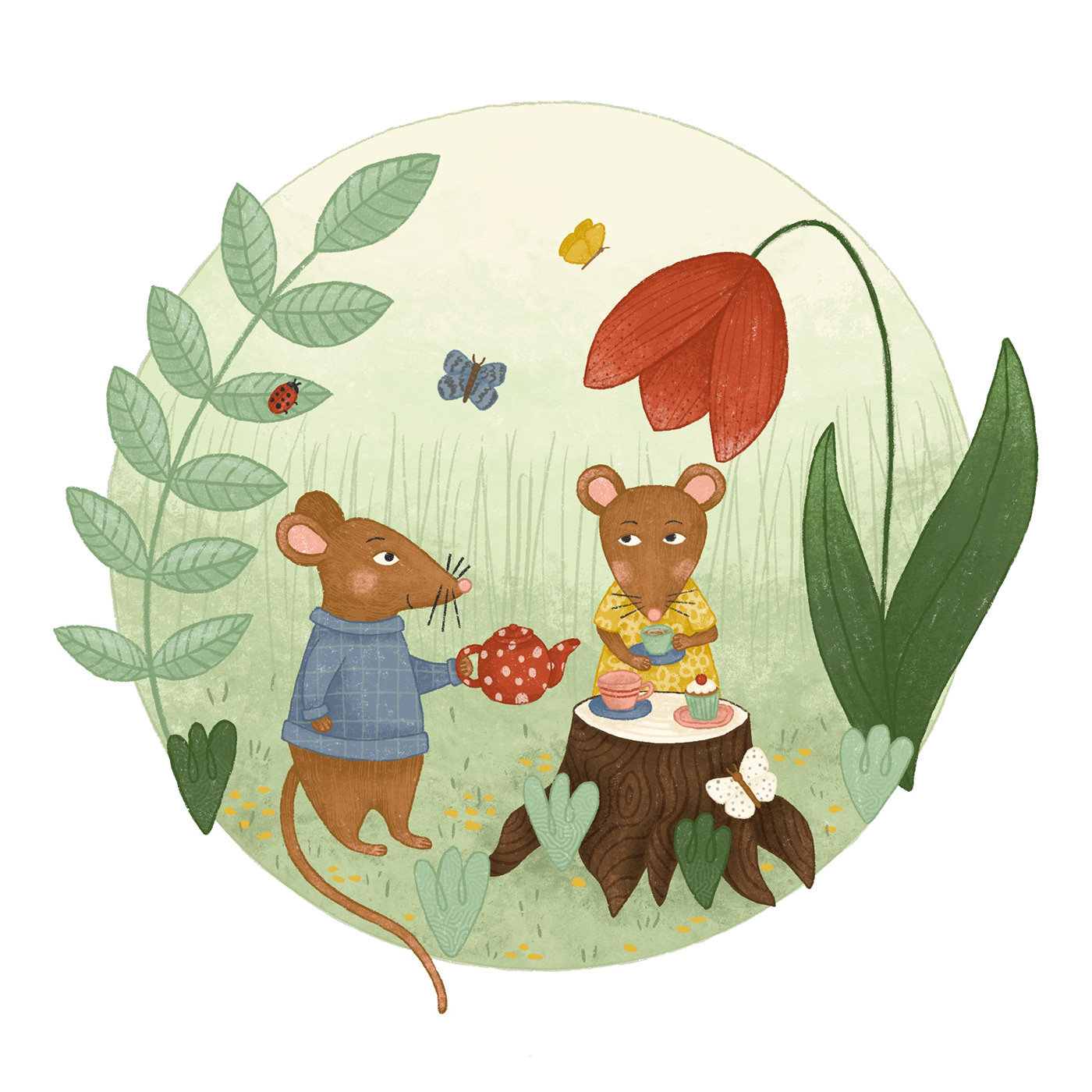 Childrensillustration cute digital illustration Magical mice mouse Nature tea party Tea Time whimsical