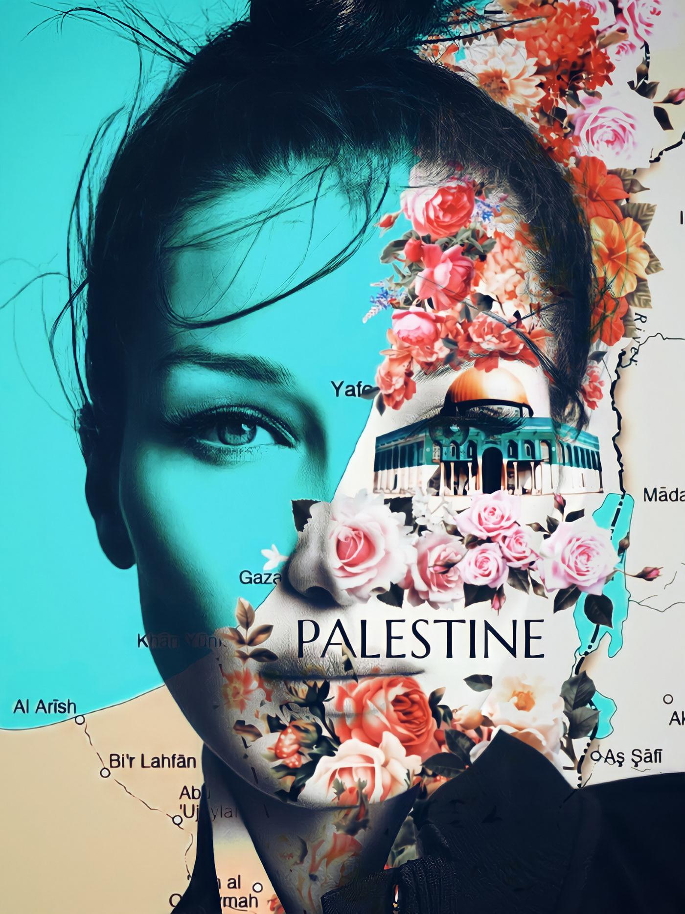 Adigebatur artwork bella hadid Digital Art  fgraphi jerusalem map modern art palestine real map