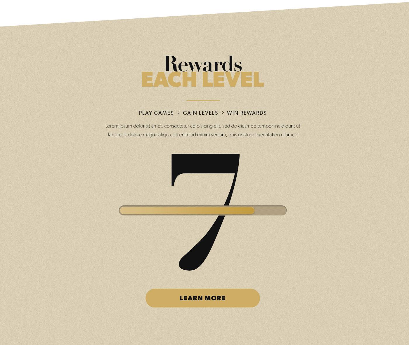 Web shadow casino landingpage Webdesign vintage flat gold