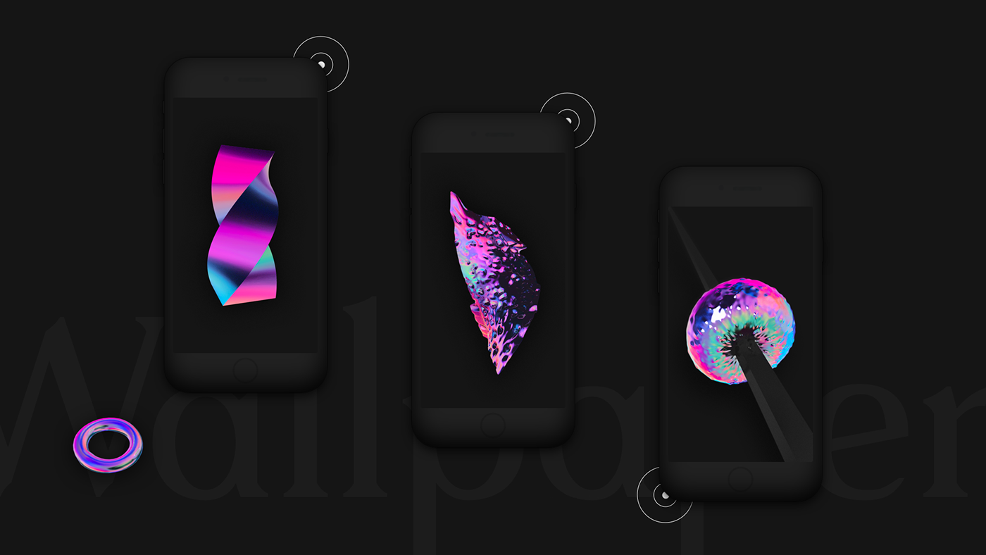 c4d holographic 3D abstract wallpaper free smartphone iphone