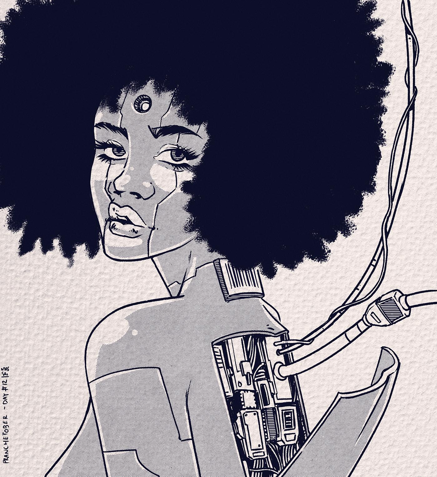black and white Black Girls Character design  Digital Art  illustrators inktober inktober 2020