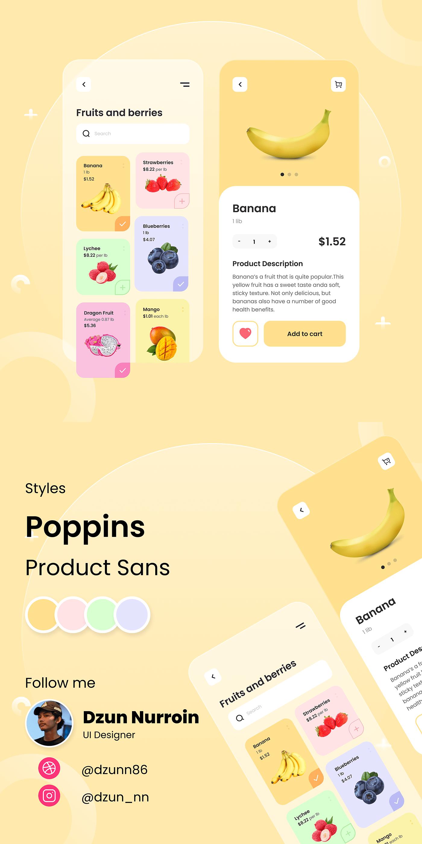 Fruit Mobile app shop ui ux
