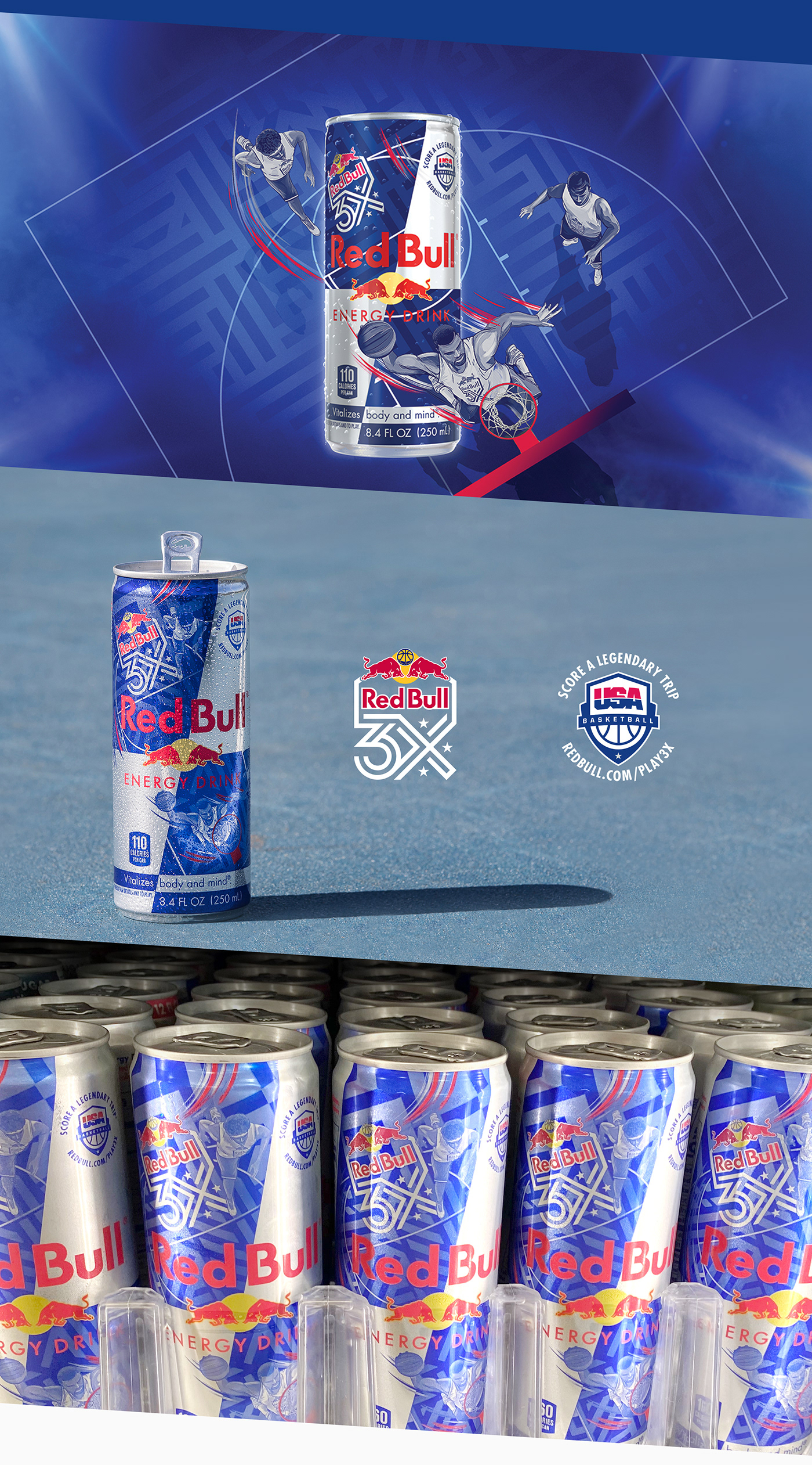 Packaging Red Bull Retail usa NBA soft drink basketball Can Design