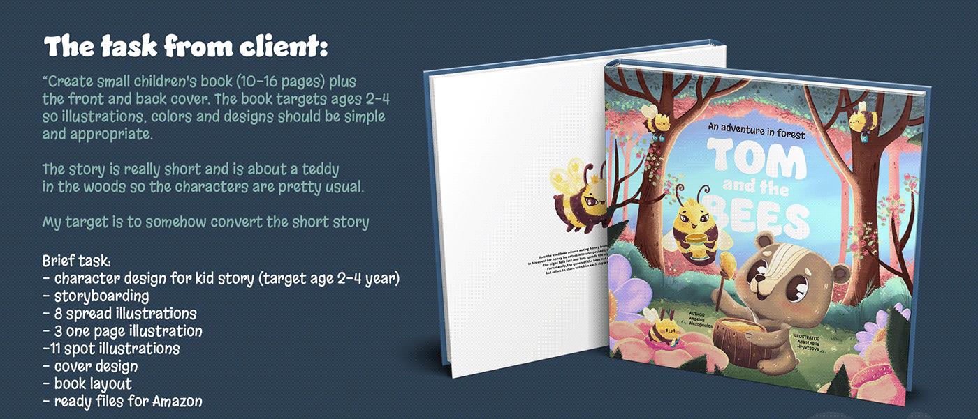 2d Illustration Amazon animal illustration bear bee Book Layout Character design  children book cover design kids story