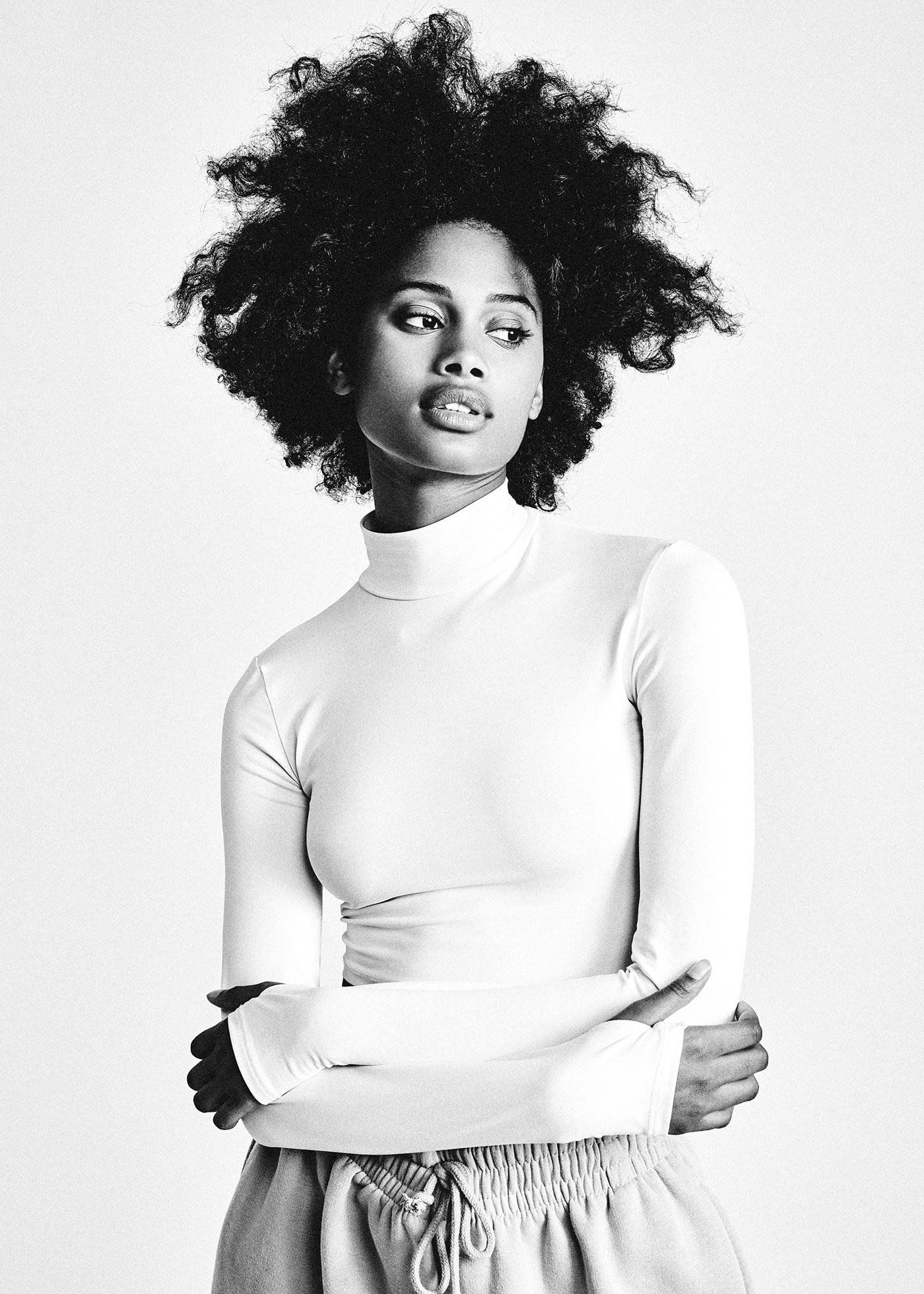 afro afrohair b&w black and white fashion portrait portrait studio White