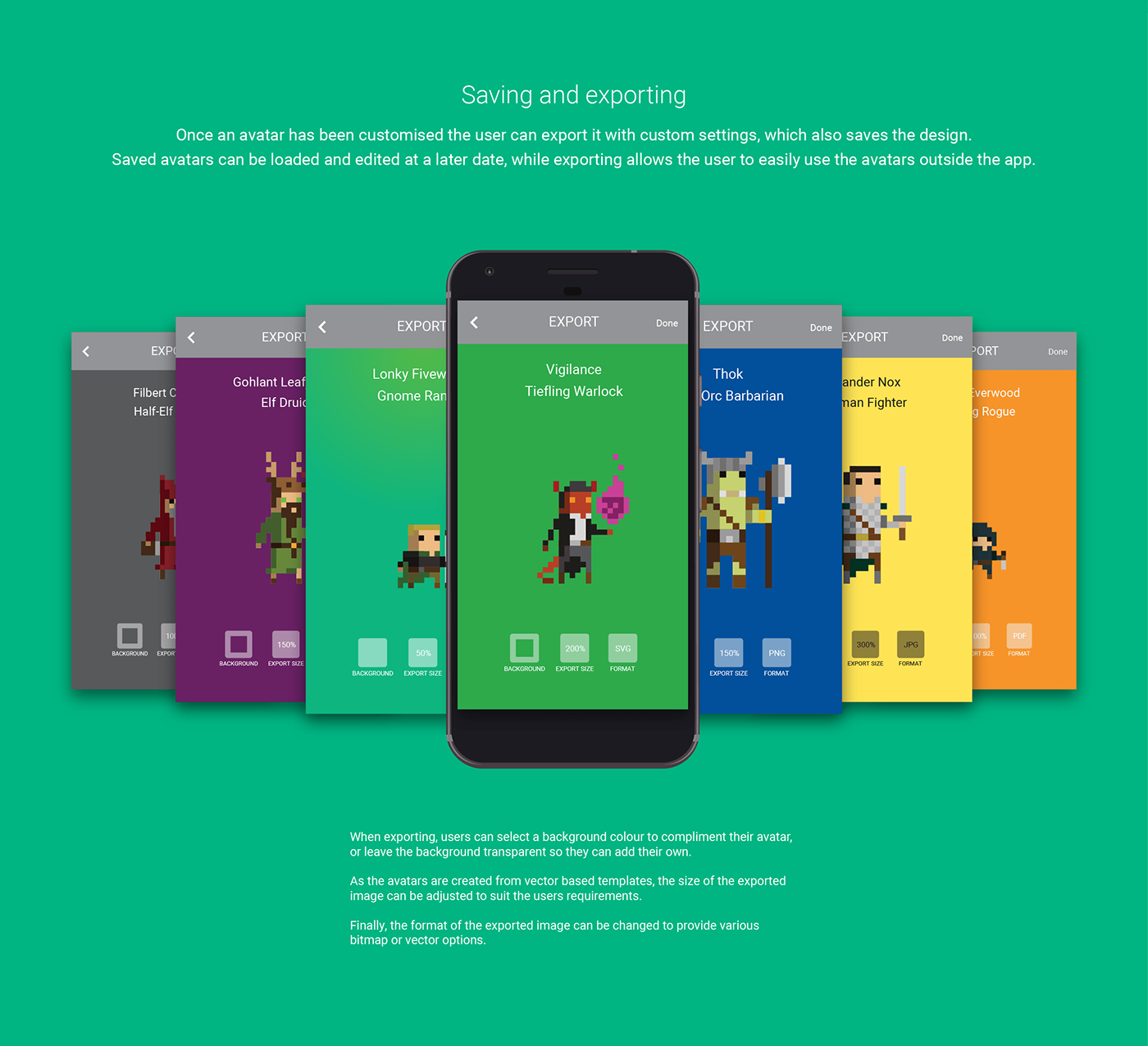 Pixel art ILLUSTRATION  android Games Dungeons and Dragons concept app UI/UX