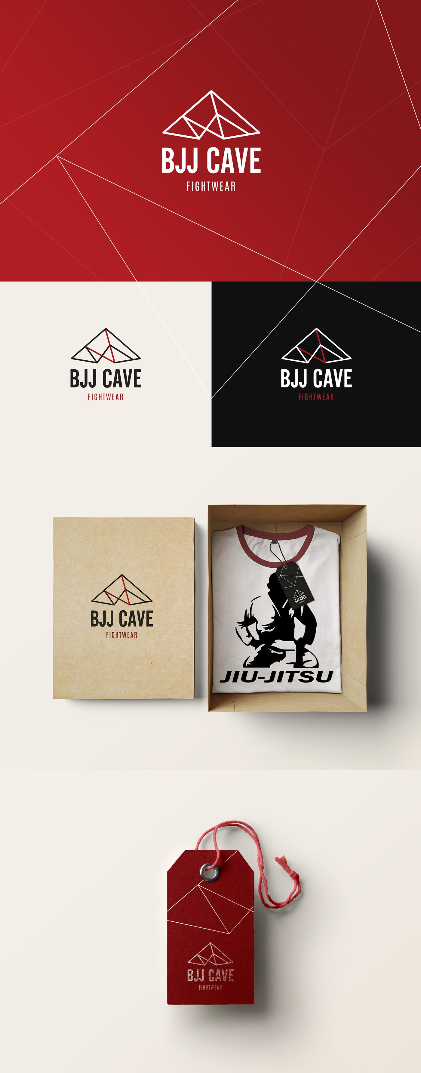 cave jiu-jitsu fight clothes store red black lines geometric concept