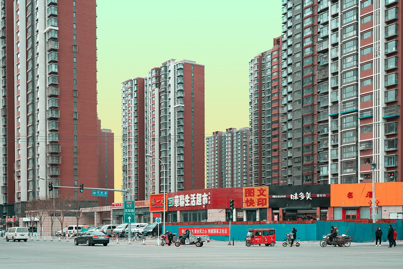 city china people architecture streets acid hi-tech future smog glow