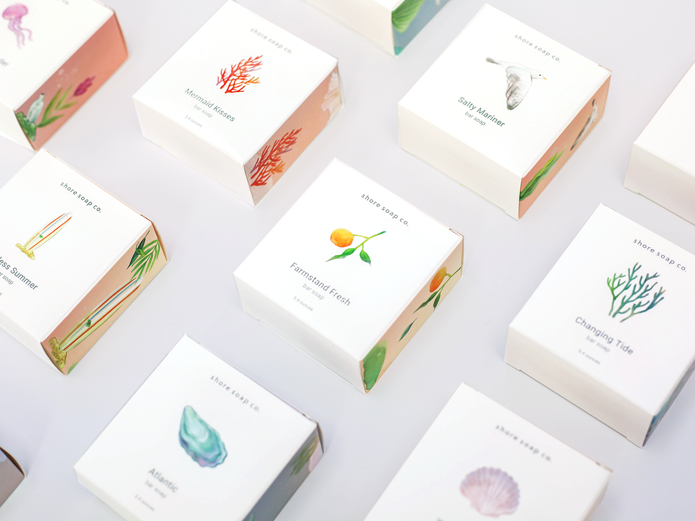 soap illustrationpackaging watercolorpackaging Ocean sea cosmetic packaging ecofriendly Nature candle adobeawards
