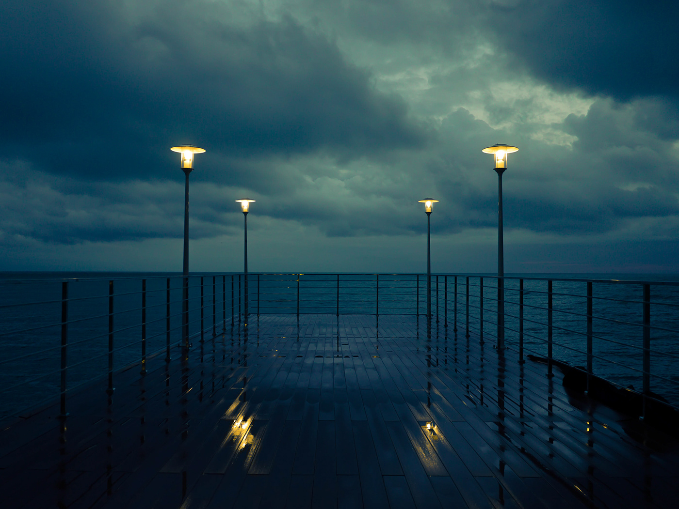 rain sea Sadness blue see and sky yellow light