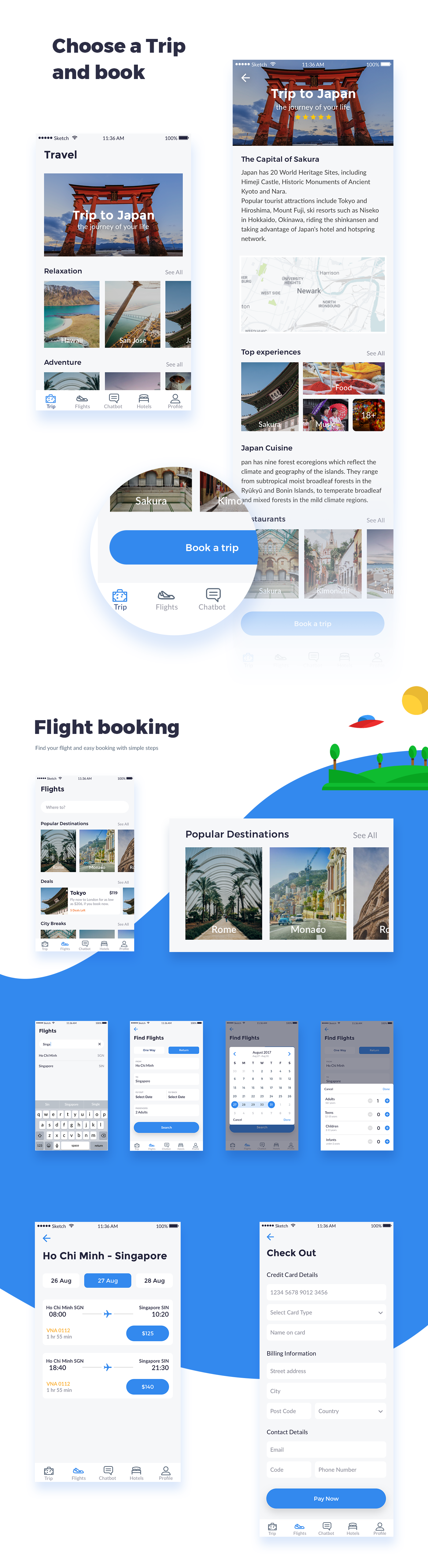 uikit Travel hotelbooking UI/UX tour freebie