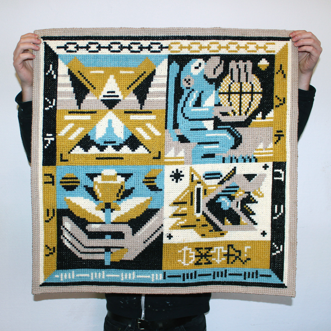 dxtr pictoplasma Exhibition  tapestry Rug canvas acrylics berlin characterdesign wool