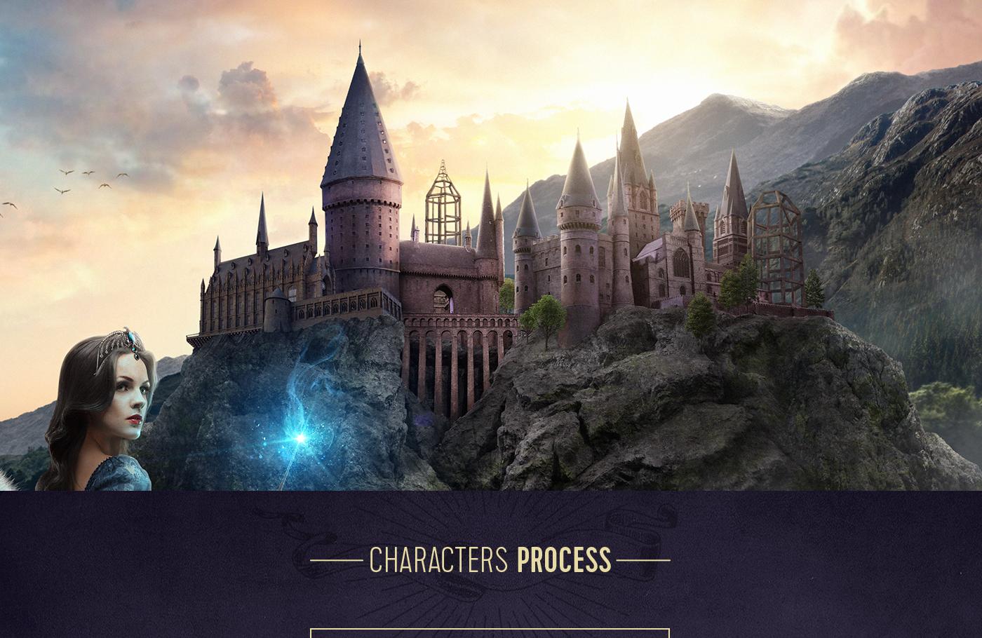 Helga Hufflepuff,Salazar Slytherin,Rowena Ravenclaw,Godric Gryffindor,harry potter,Hogwarts,J.K. Rowling,Matte Painting,Magic  ,Founders