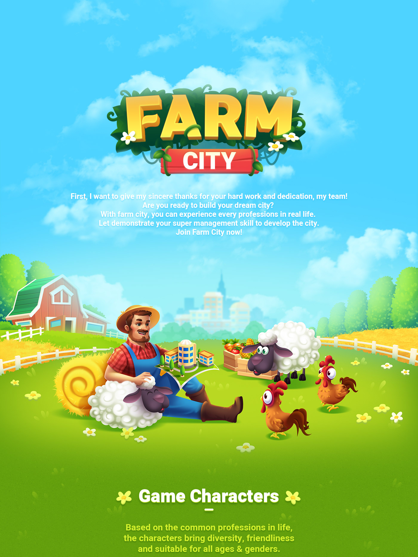 farm city farm game game asset game design  game mobile game ui iKame ILLUSTRATION  Character design  game