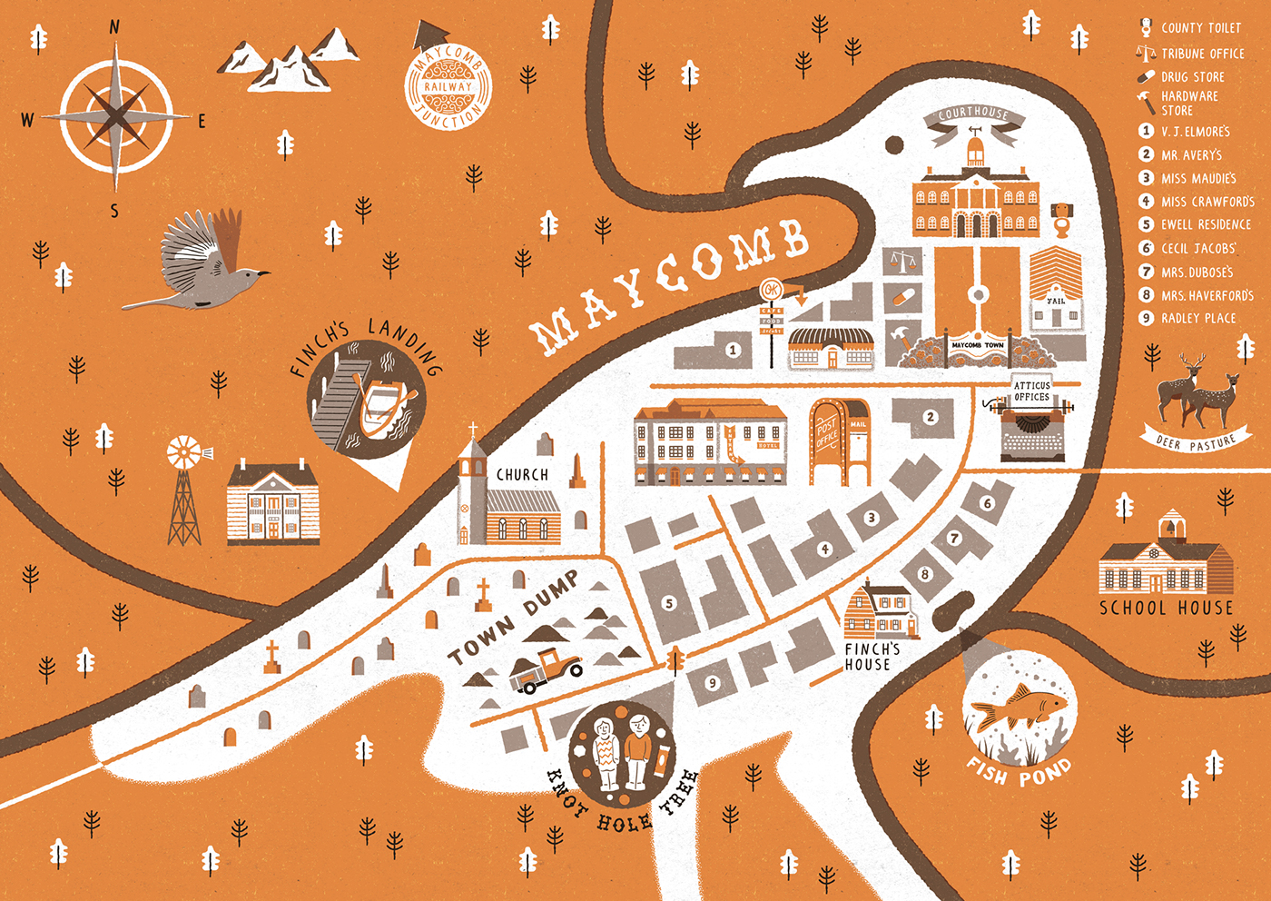 Maycomb Town Map on Behance