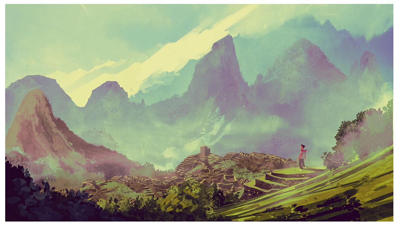 painting   2D digital ILLUSTRATION  art Landscape peru concept wacom inspire