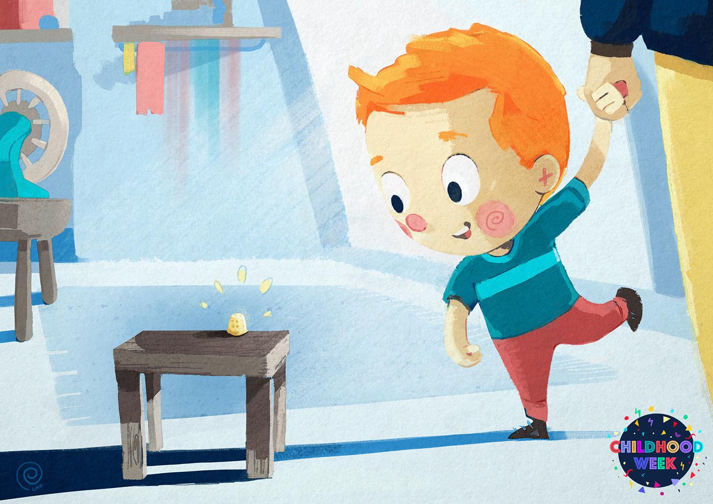 childhood week digital painting ILLUSTRATION