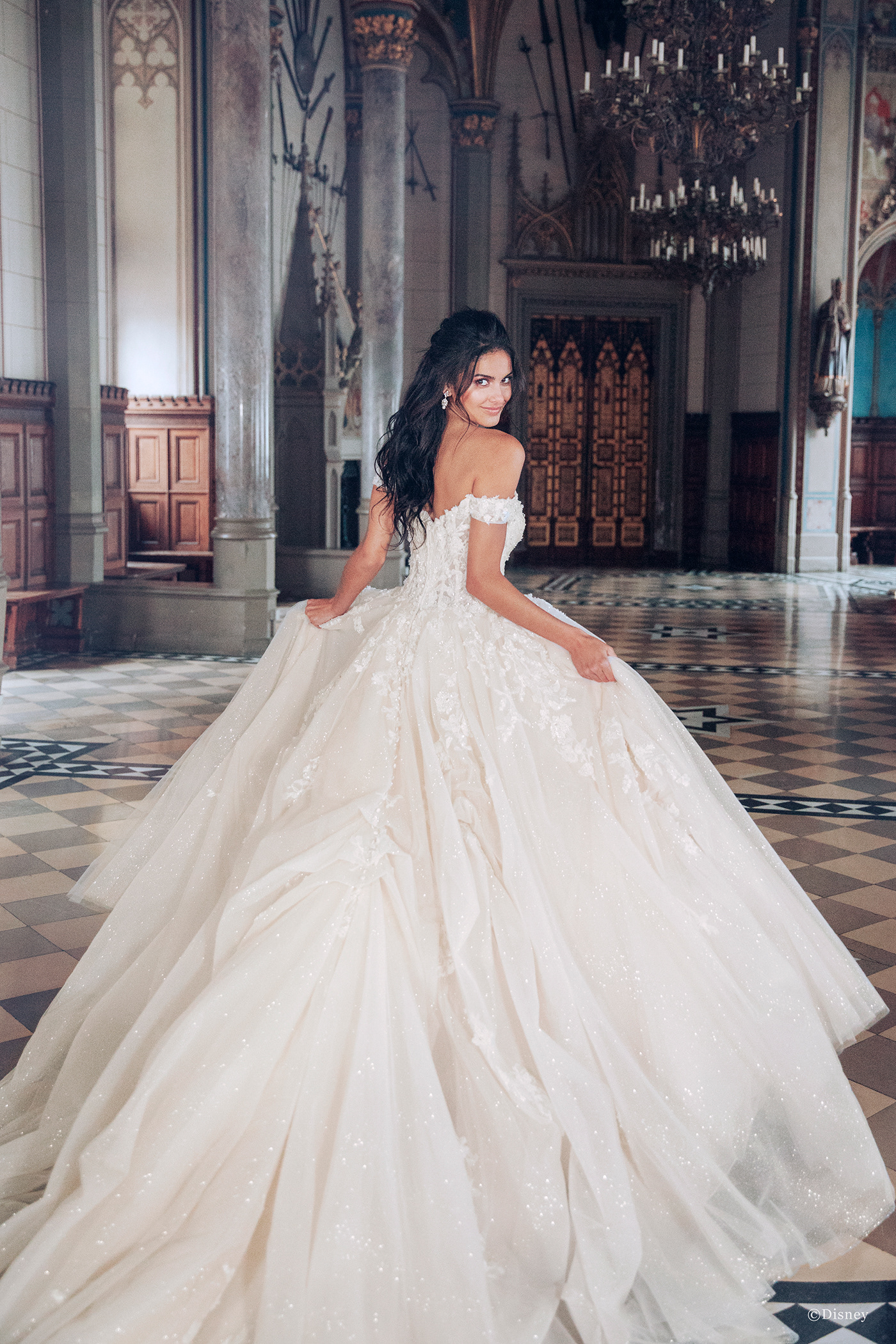 Image may contain: wedding dress, clothing and bride