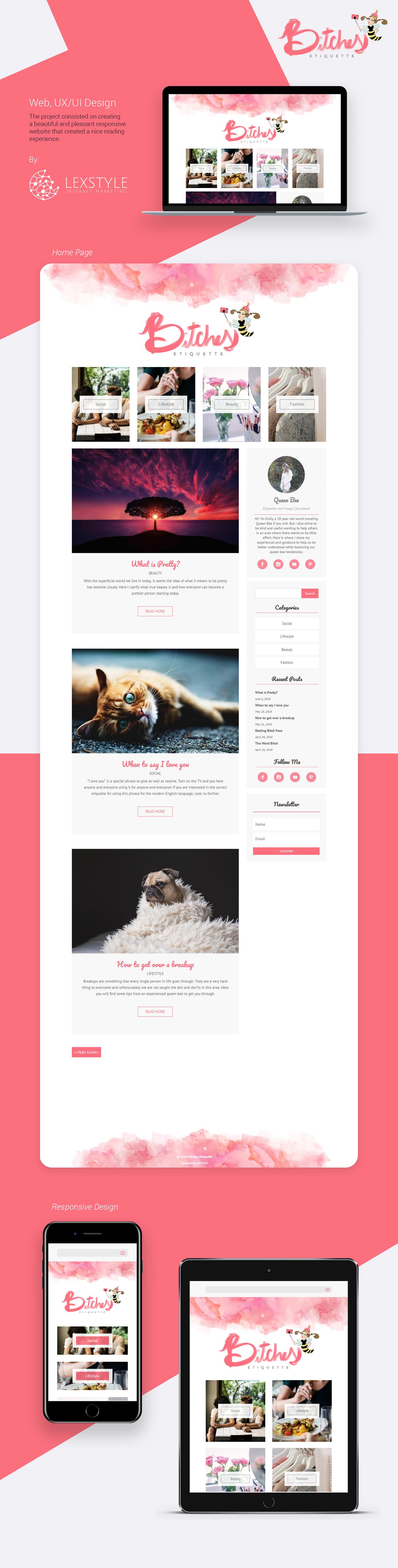 Webdesign uidesign uxdesign interactiondesign lexstyle Website Webdevelopment femeninedesign womendesign PinkDesign