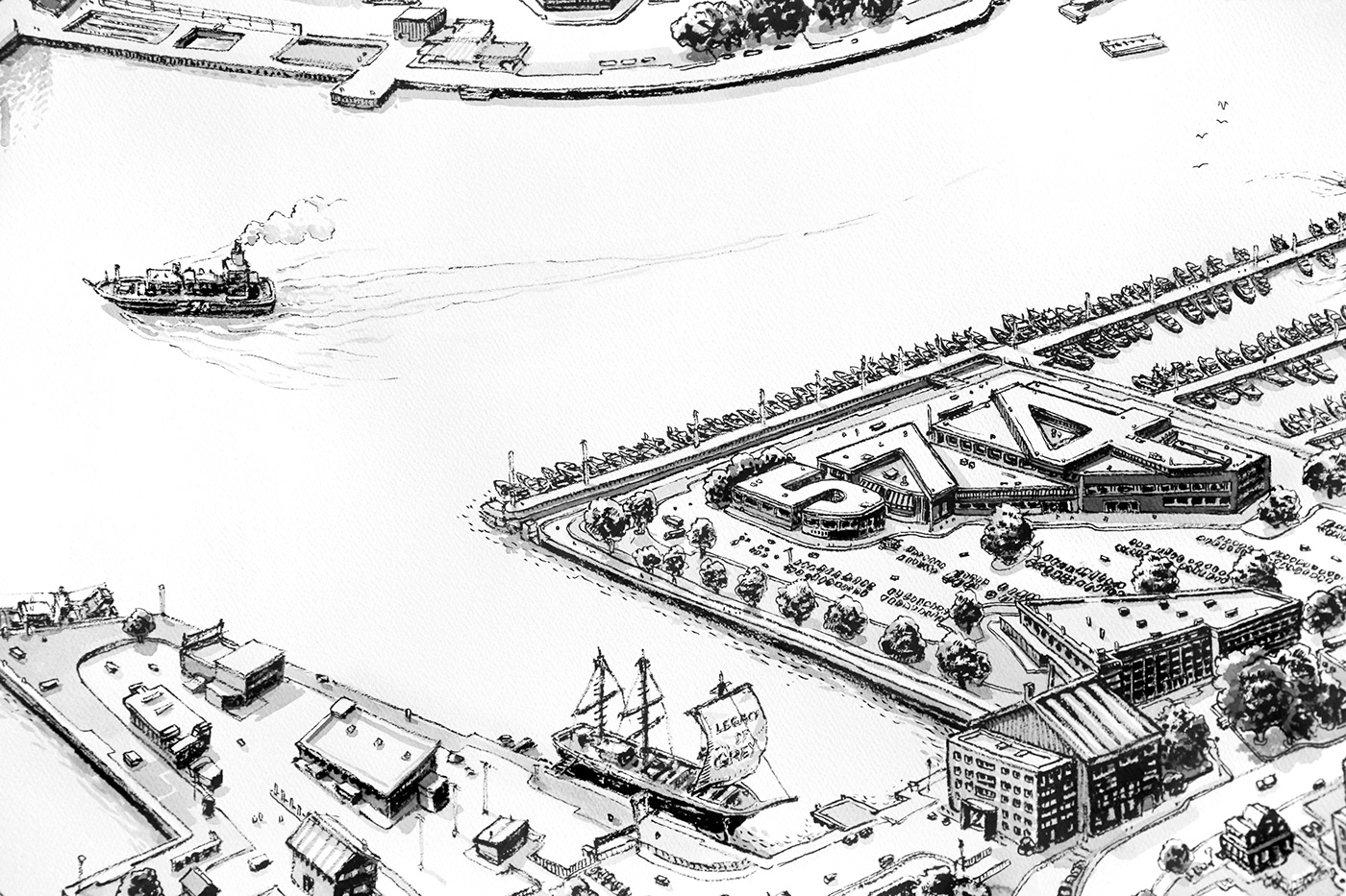 Drawing  ink black paper cityscape sneakers NewBalance boston