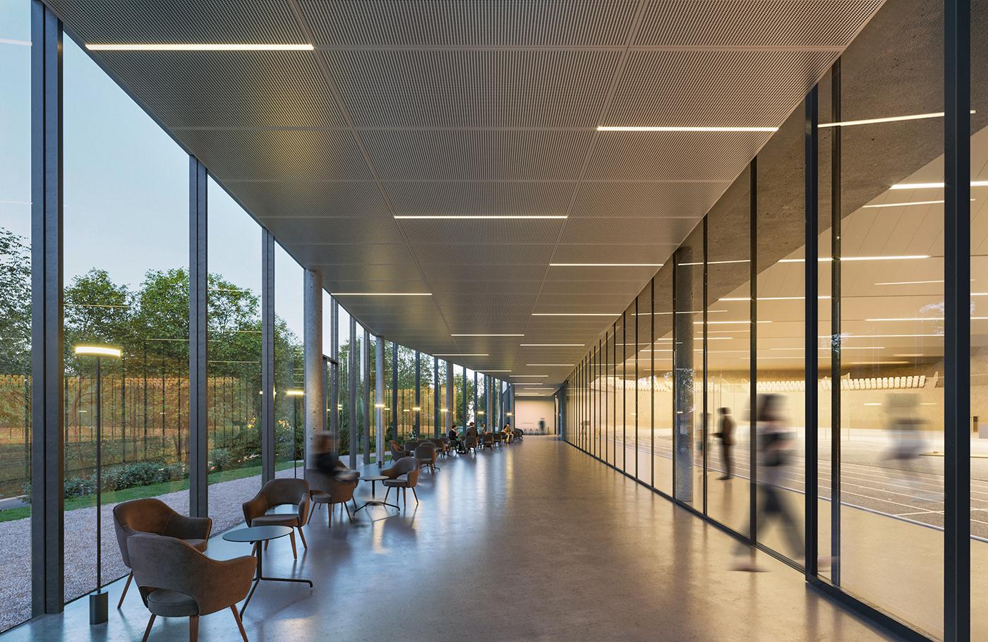 architecture Arena athletics CGI Competition Interior modern Render Sport Center visualisation