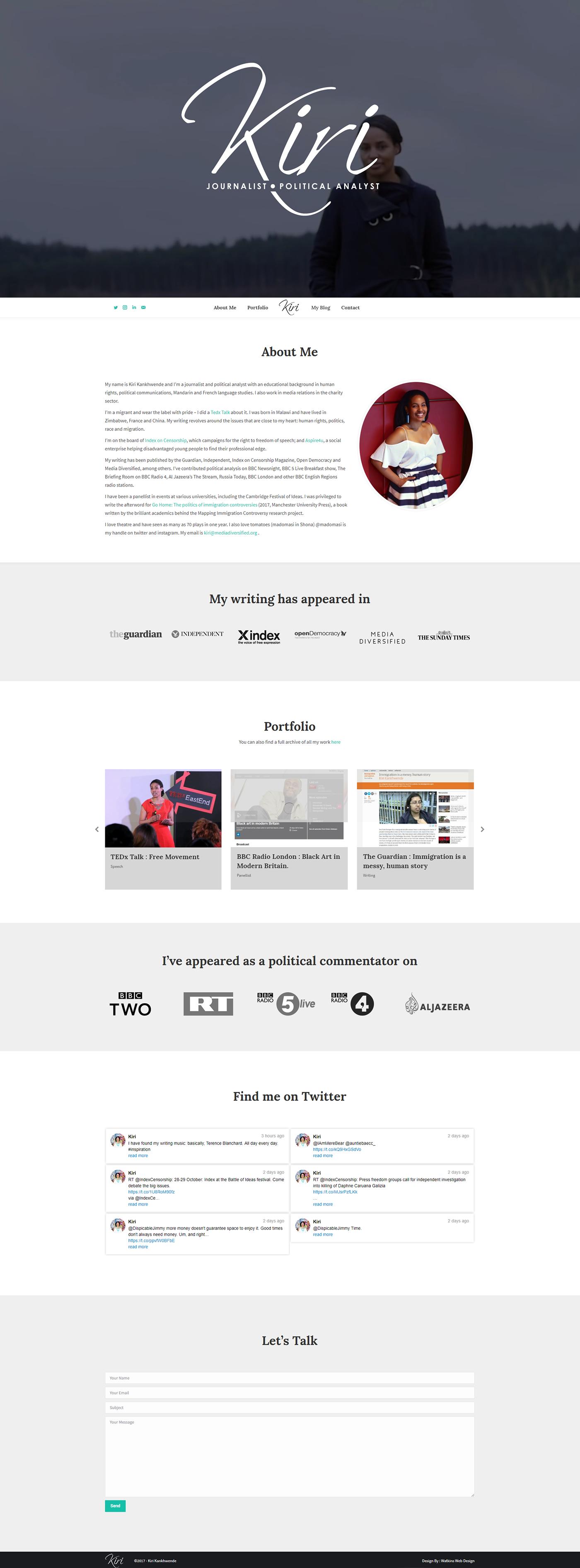 Web Design  portfolio site Journalist political commentator