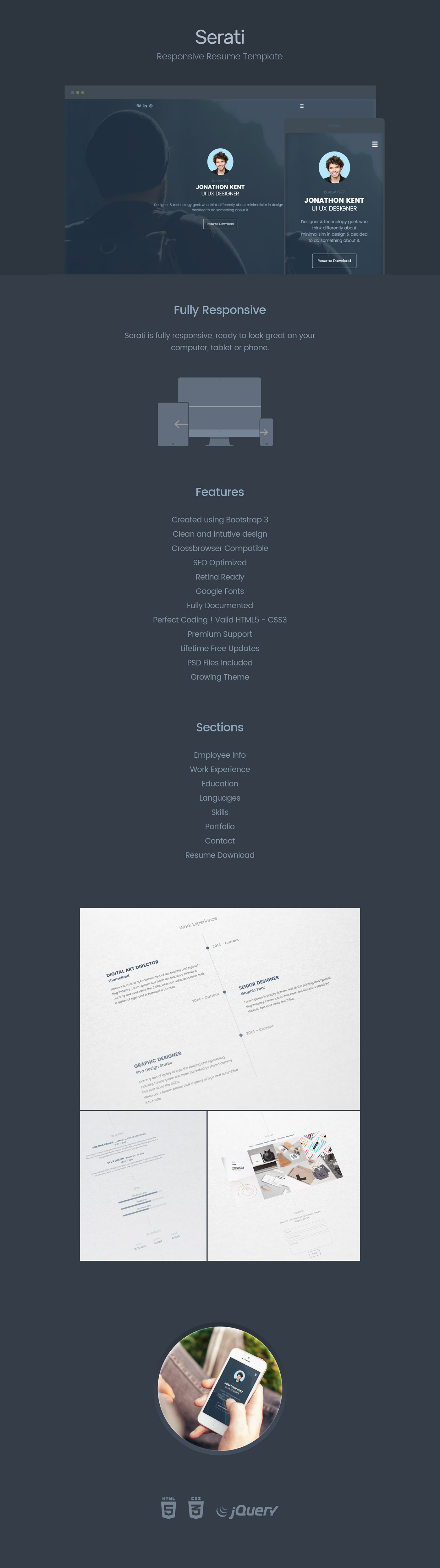 Serati free html resume template on behance yelopaper Image collections