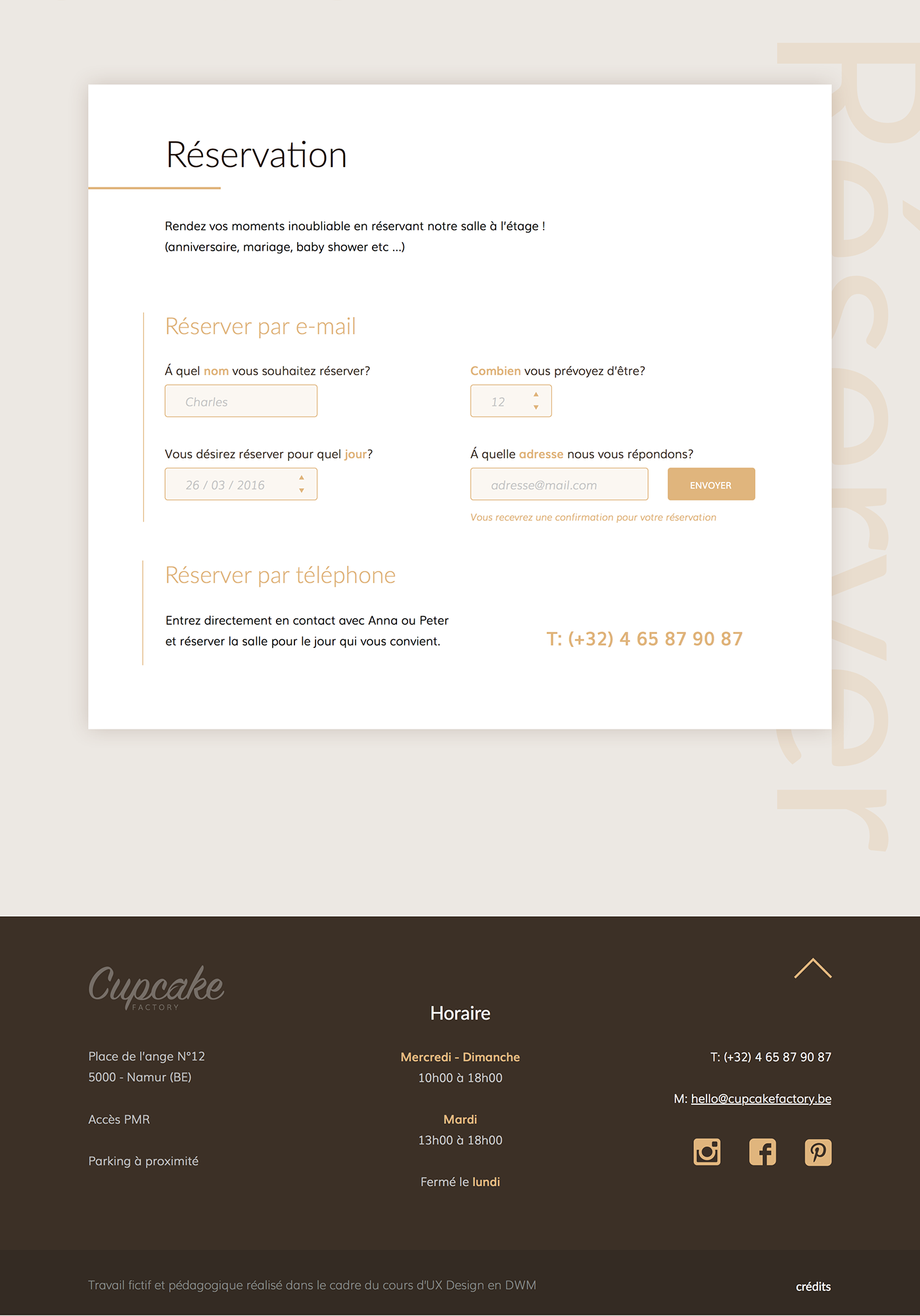 Interface,Web,design,Conception,cupcake,restaurant,cupcake factory