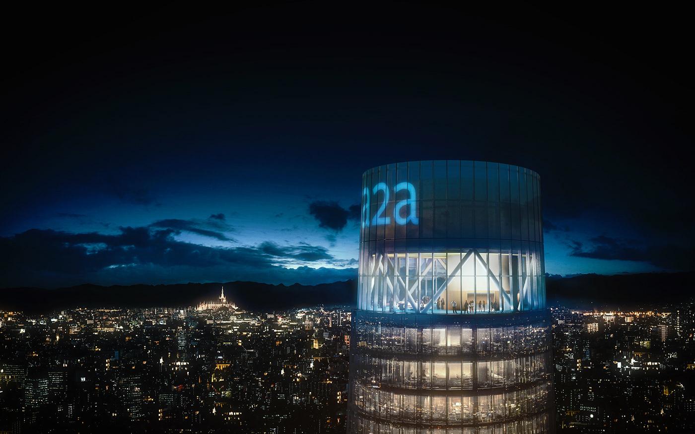 3D archviz CGI Render rendering tower