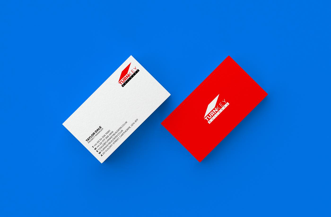 logo branding  business card identity red black graphic design  brand corporate builders