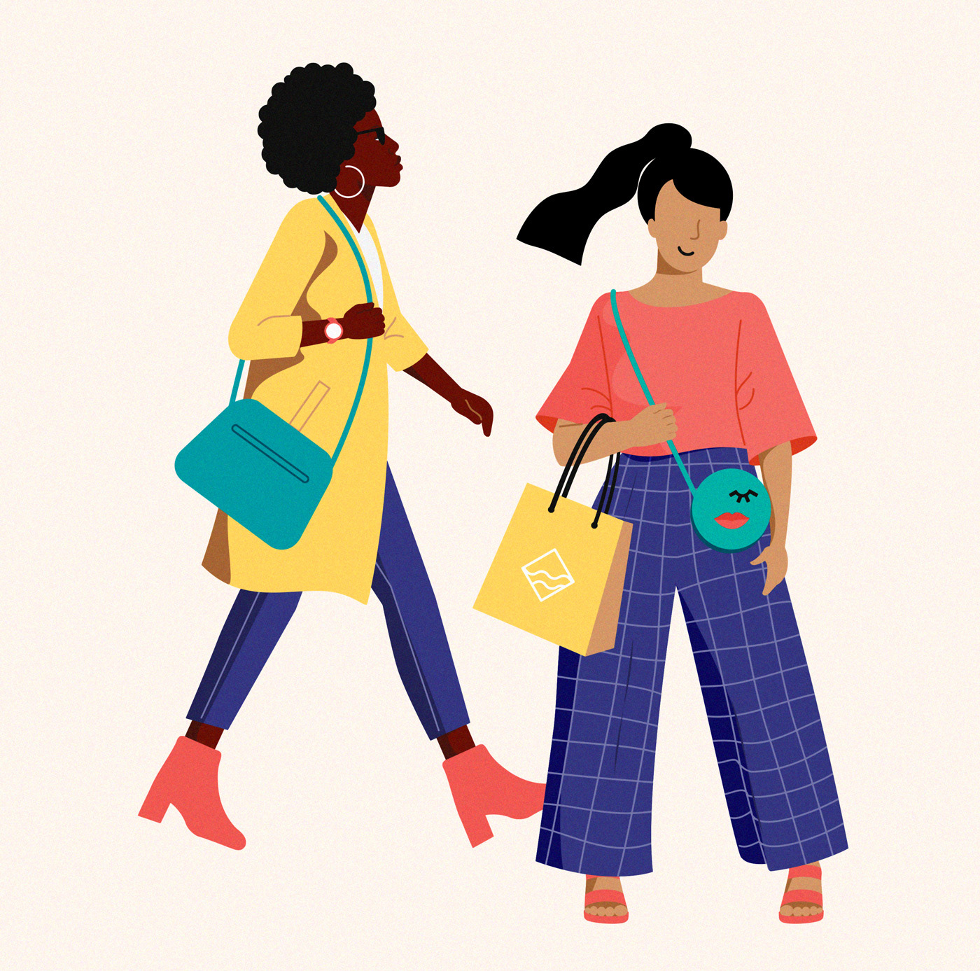 Fashionable girls shopping in the streets of the city of The Hague