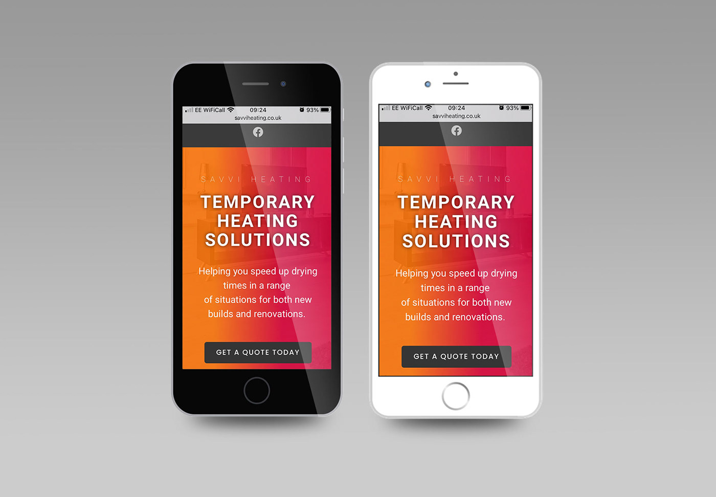 Two mobile phones displaying a website for a heating company