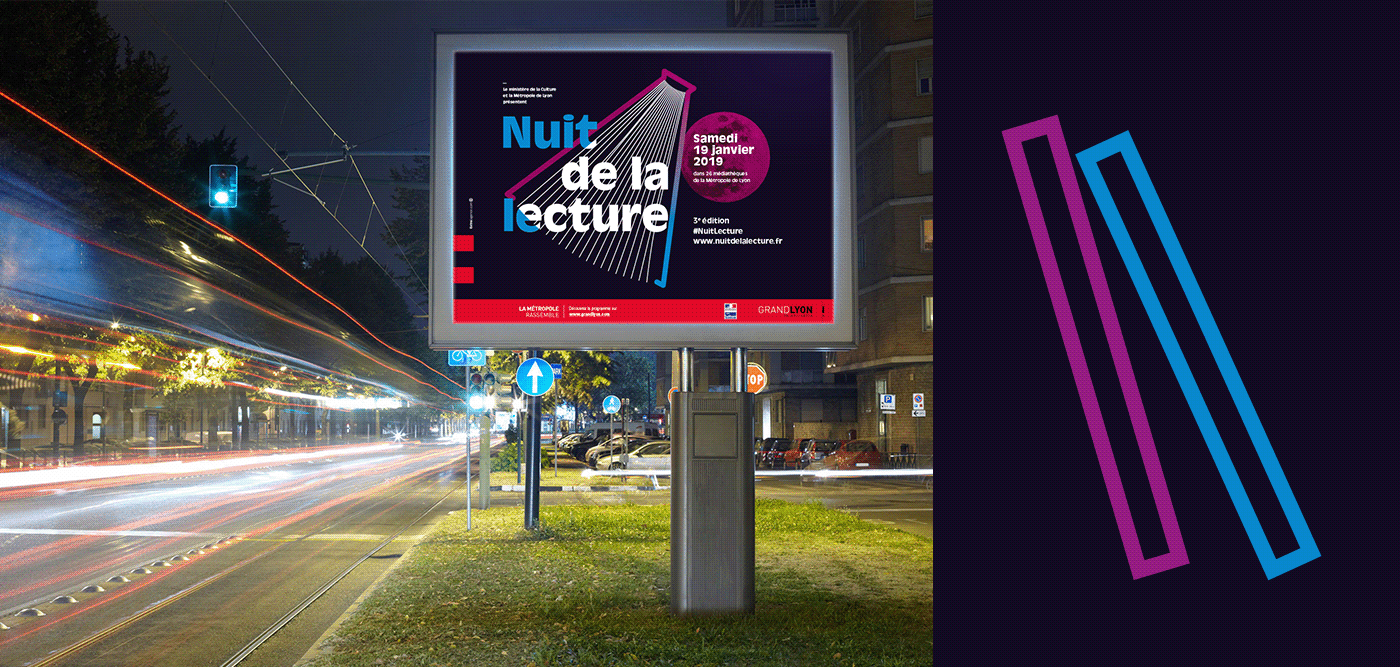 nuit lecture institutionnel lyon light book poster edition grandlyon Reading