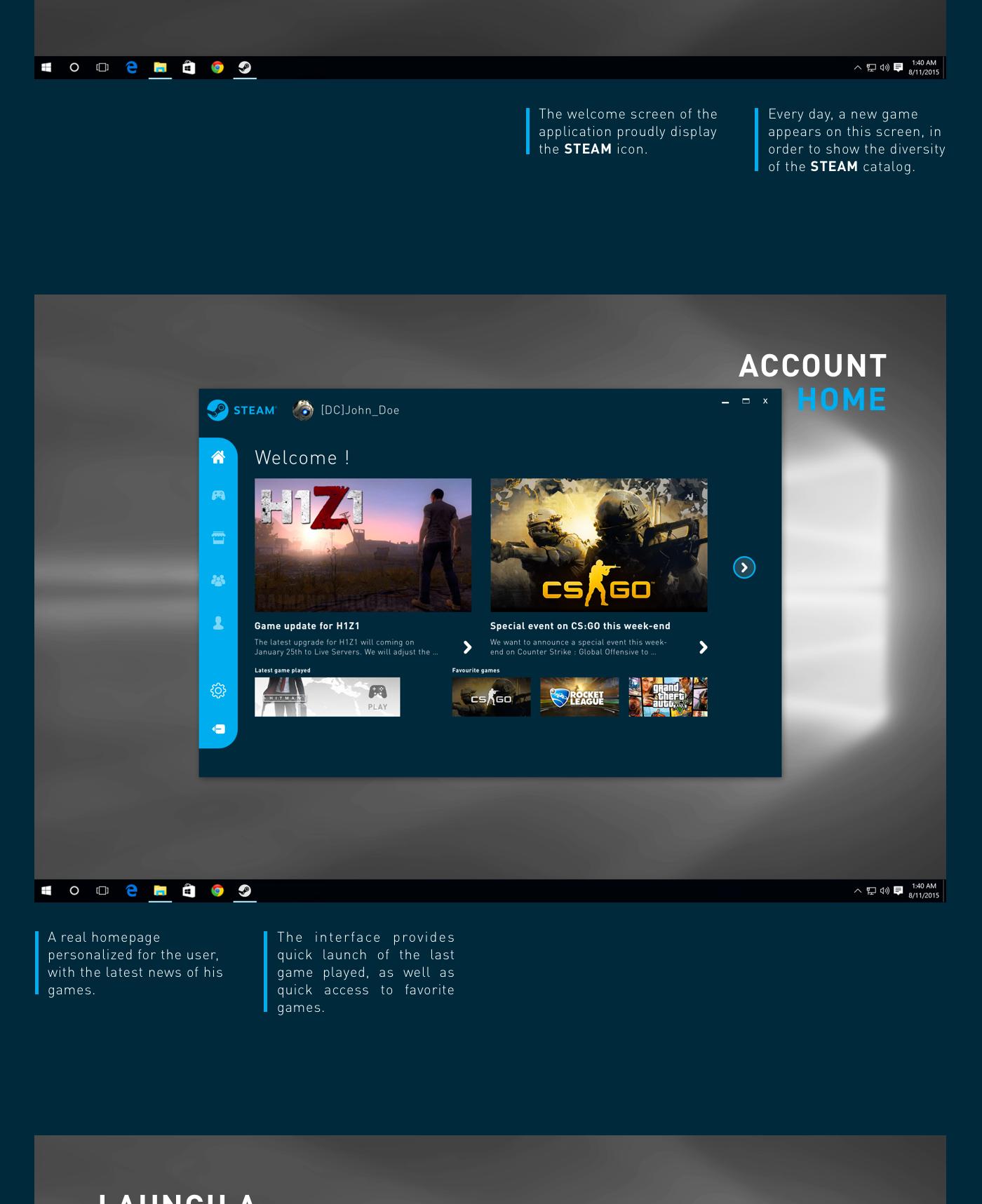 Steam,UI,design ui,Video Games,jeux vidéo,Valve,Interface,desktop,Website