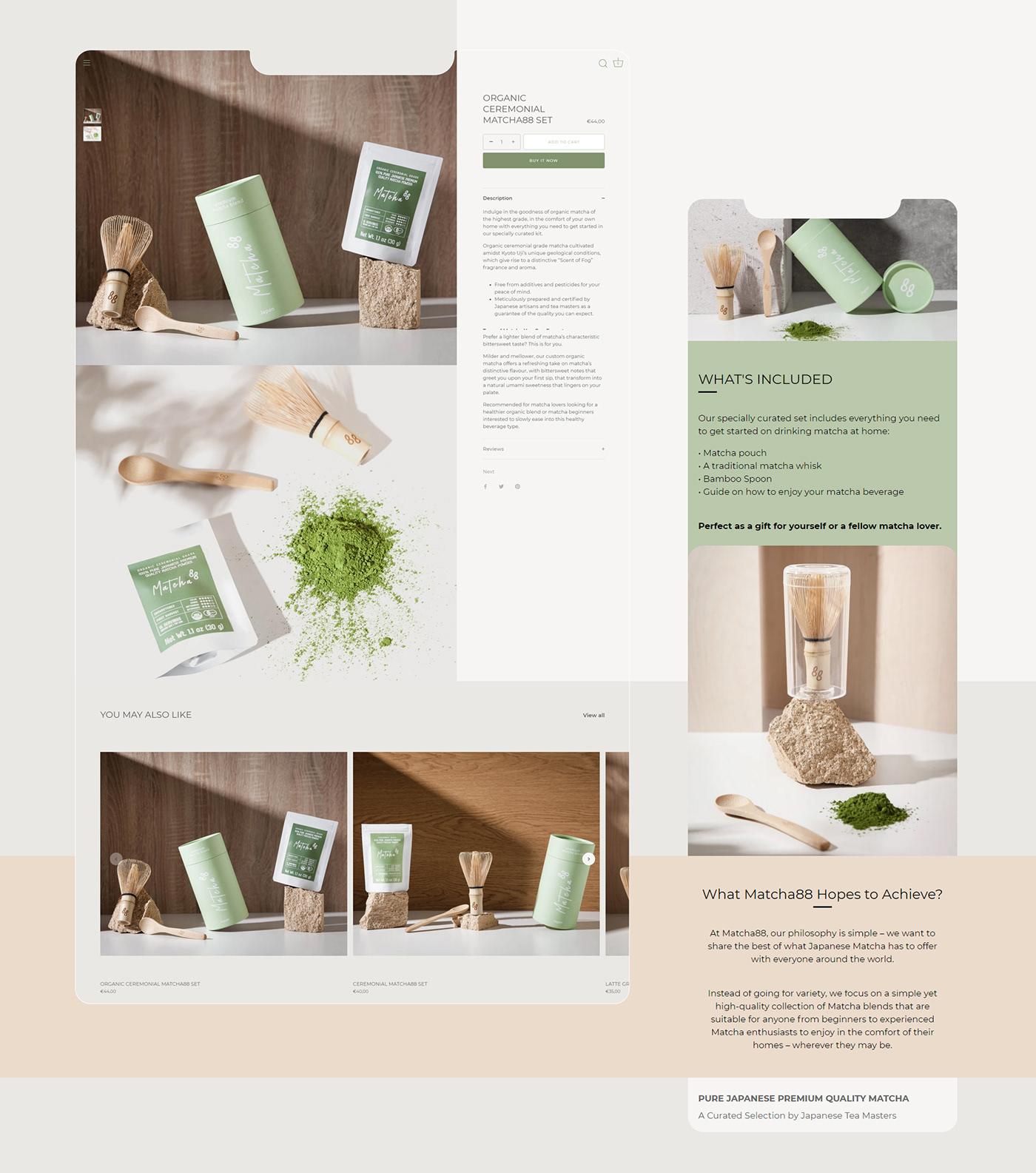 brand identity branding  Ecommerce logo Logo Design matcha Packaging Shopify shopify store Web Design
