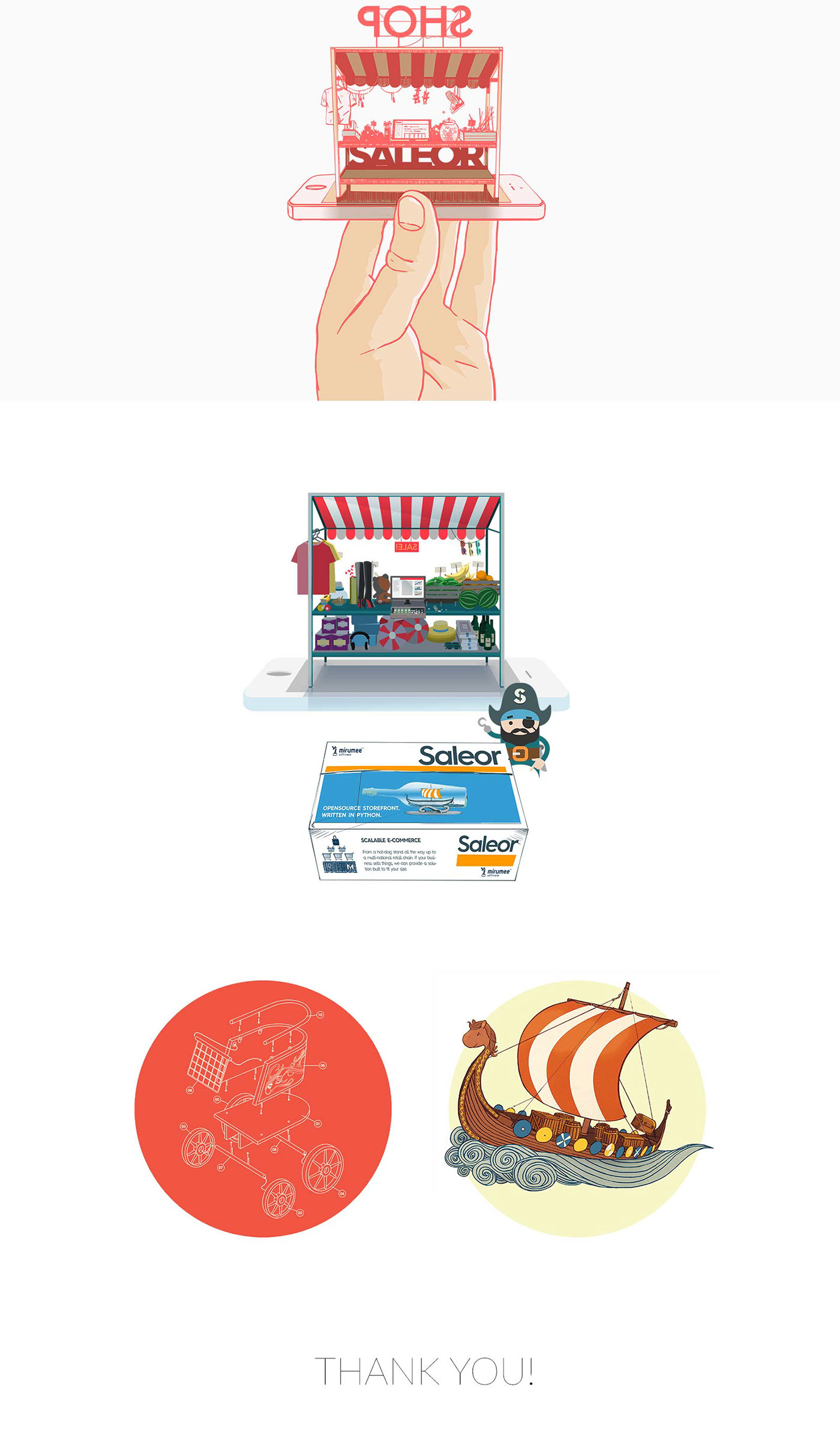 pirate e-commerce Character mirumee open-source Website hype ILLUSTRATION  mobile Shopping