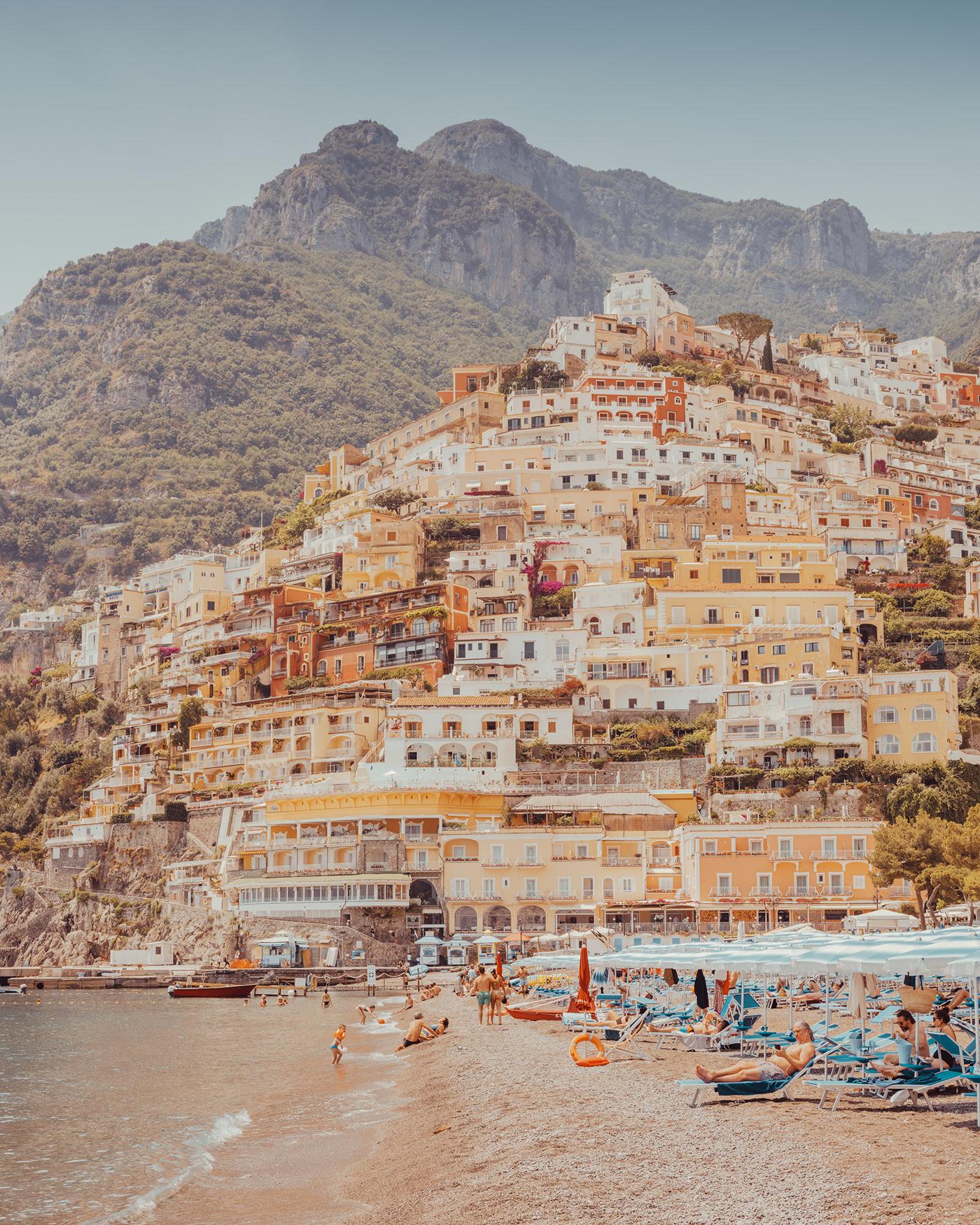 amalfi coast beach Coast colors embrella Italy Pastels Photography  Positnao sea