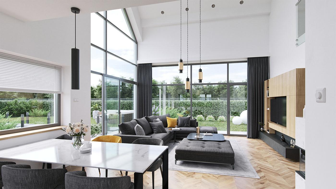 modern barn Interior design luxury apartment house